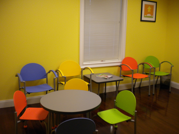 Uptown pediatrics affordable and colorful waiting room for Kids waiting room furniture
