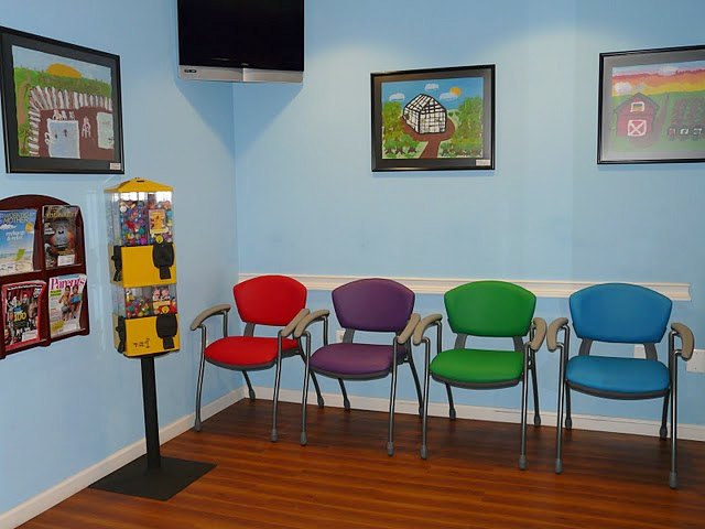 Colorful Waiting Room Chairs Background