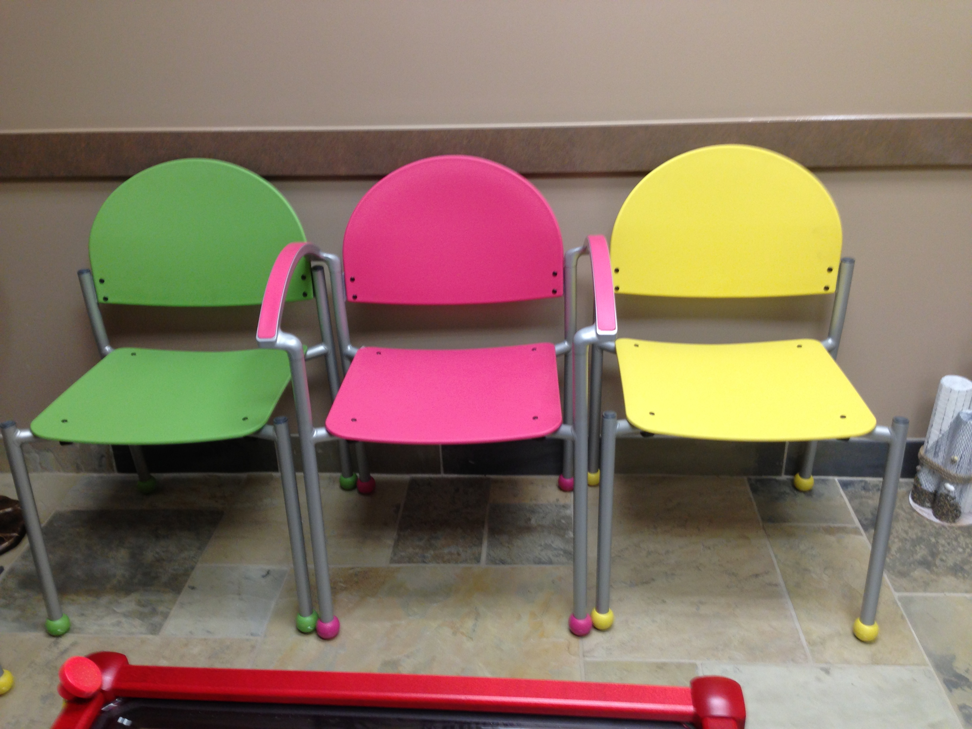 Colorful waiting room with bola chairs affordable and for Colorful office furniture